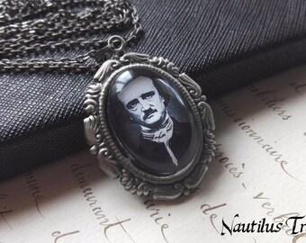 Edgar Allan Poe antique silver necklace, Allan Poe Necklace, Edgar Allan Poe victorian necklace, Gothic necklace, Allan Poe