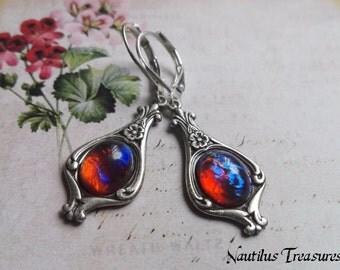 Mexican Fire Opal Earrings, Dragon breath Art Noveau silver earrings, Art Noveau earrings, Mexican opal silver earrings, Dragon breath