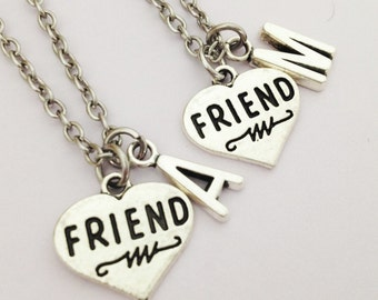 Set of 2 bff necklace - friend necklace - heart necklace - personalized - initial necklace - friendship - gift for her