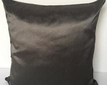 Charcoal Grey pillow/ Pure Rough Silk - 22 x 22  large Pillow/ Accent throw pillow cover/ silk pillows/ large pillows/ designer pillows