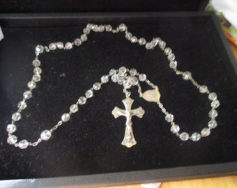 Vintage Aurora Borealis rosary with sterling cross