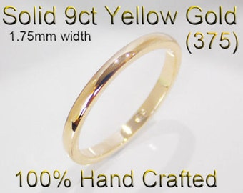 9ct 375 Solid Yellow Gold Ring Wedding Engagement Friendship Half Round Band 1.75mm