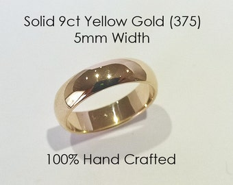 9ct 375 Solid Yellow Gold Ring Wedding Engagement Friendship Friend Half Round Band 5mm