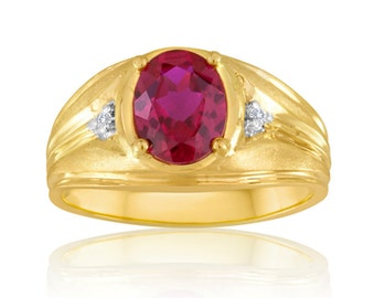 10K Yellow Gold Ring, Ruby and Diamonds