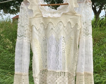 1970's Boho Lace Top / Blouse, One of a Kind, Art to Wear, Small Size