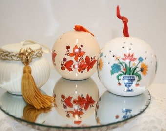 SALE: Vintage pomander; Choice of pomanders; sachet; dried flowers; ceramic pomander/Orange butterflies -SOLD