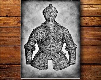 Medieval Print, Armour Decor, Chain Armor Poster BW244