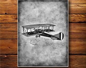 Victorian Print, BiPlane Illustration, Plane Art Decor   BW447