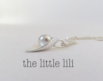 Sterling Silver Pearl Necklace - Silver Leaf Necklace - Pearl Jewelry - Bridesmaid Necklace - Wedding Jewelry.
