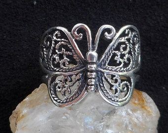 Handmade streling silver butterfly ring/silver 92,5 butterfly ring/silver victorian butterfly ring/silver 92,5 boho butterfly ring/butterfly