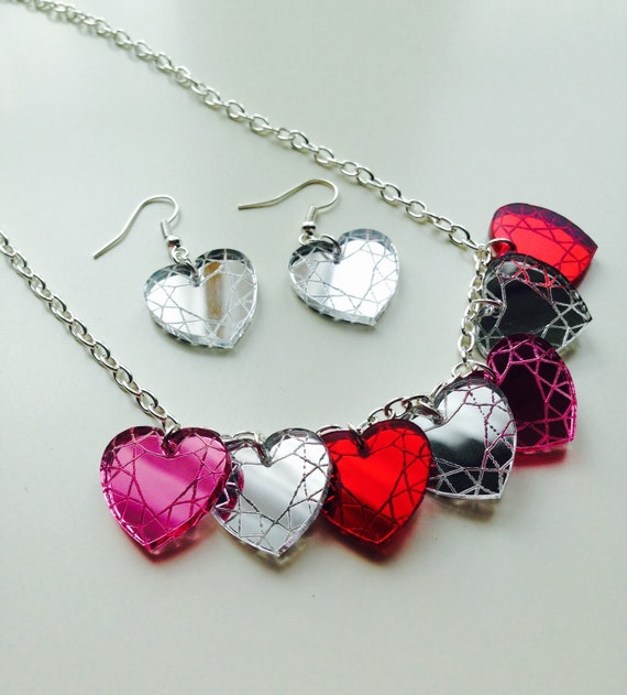 Heart Of Glass | Heart | Gem | Life | Blondie | Mirrored | Laser Cut | Acrylic | Necklace | Earrings | Set