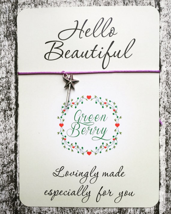 Wand charm string bracelet on Hello beautiful quote card - wish bracelet madebygreenberry