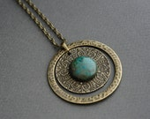 Circle Necklace Bronze Round Pendant Vintage Ring Pendant with Chrysocolla stone Art Nouveau Jewelry Art Deco Style Boho Chic Necklace Green