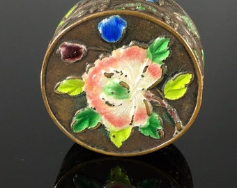 Antique Old Chinese Export Enamel Pill Box - Round Floral Enamel Snuff Box, Trinket Box, Collectible
