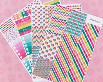 Summer Carnival Weekly Sticker Kit for your Erin Condren Life Planner - 160 Stickers