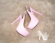 Shoes ~ Pink high heels ~ Wedding, Sweet 16, Prom, Bridesmaid, Summer, Ibiza, Las Vagas, Florida, Quinceanera, Graduation, Wedding Guest
