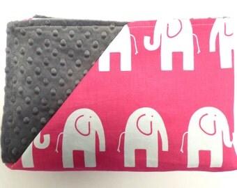 READY TO SHIP - Bright Pink Elephants Baby Blanket -  Premier Prints- Minky Blanket - Travel Blanket