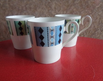 Vintage retro Kitsch Royal Adderley Bone China  coffee cups Masquerade design