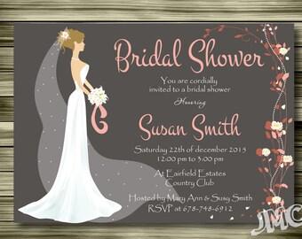 Bridal Shower Invites, Wedding Invitations, Bridal Shower invitation, Printable and customizable Wedding invitations, Instant Download