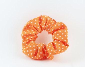 SALE - Scrunchie - orange and white polka dots