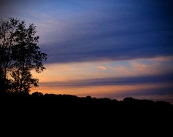 Orange and Blue Layered Sunset