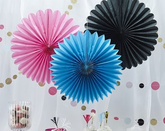 Hanging Paper Fan Decorations x 3