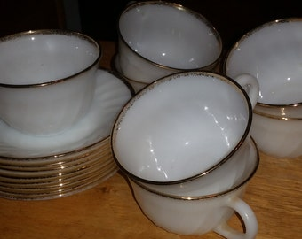 Vintage Fire King Milk Glass Gold Rim Coffee/Tea Cups and Saucers