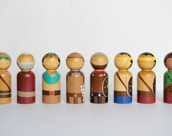 Book of Mormon peg dolls, Scripture Heroes, Scripture Dolls, Wood Dolls, LDS