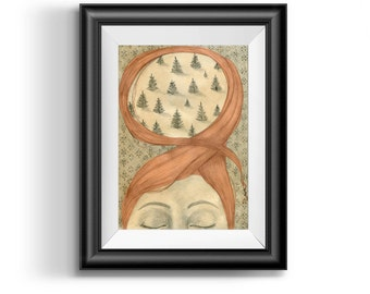 Illustration Art Print,  Girl with Red Hair, Girl Illustration, Surrealism, Girl Drawing, Girl Print, Trees, Whimsical art, red hair drawing