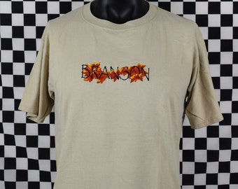 Vintage Branson Tee Shirt / 90s Branson Missouri T Shirt / Vintage Large / Made in USA / Embroidered Print / Leaves