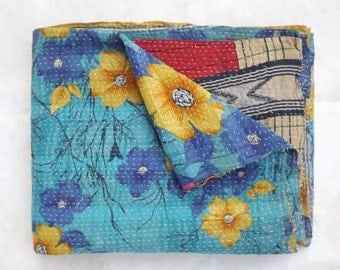 kantha quilt, vintage kantha quilt, Indian quilt, kantha throw, coverle