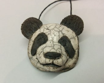 Panda Pendant - Panda Necklace - Ceramic Pendant - Panda Bear Necklace - Panda Bear Pendant - Panda Bear Sculpture - Handmade Jewelry