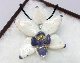 Purple and white Raku Flower Pendant