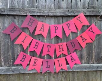 Happy Birthday banner, Happy Birthday Banner Personalized, Valentines Birthday banner, Red banner. Red party decor
