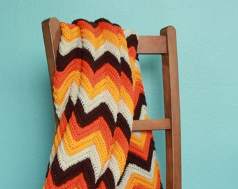 Retro Zigzag Afghan in Candy Corn Colors