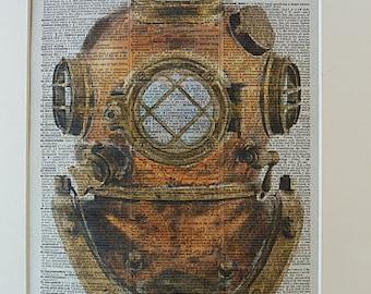 Diving Helmet Print No.95, diving, old diving helmet, nautical poster, nautical wall decor, diving helmet poster, scuba diving