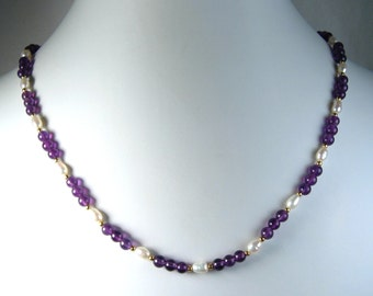 Amethyst and Freshwater Pearl Necklace Gold 18""