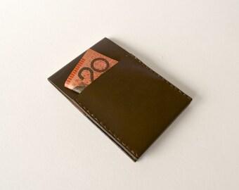 Slim Kangaroo Leather Card Wallet/Sleeve - Minimalist Card Flip (Brown) - Professional Mens Leather Wallet