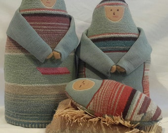 Heirloom Nativity (Joseph, Mary, Jesus & Manger) w/ Creche