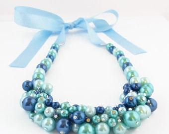 Blue Pearl Cluster Necklace - Blue Necklace _ Blue Statement Necklace - Blue Pearls - Pearl Necklace - Glass Pearl Necklace - Women's Pearls