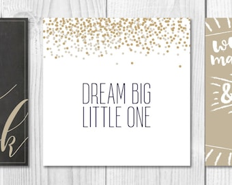 Stars, Moon, Dreams Nursery Wall Art, Nursery Decor, Set of 3, Baby Gift, Printables, Gender Neutral