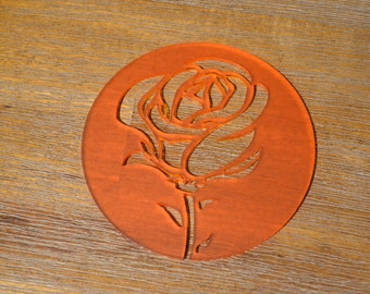 Rose Cup Coaster x4