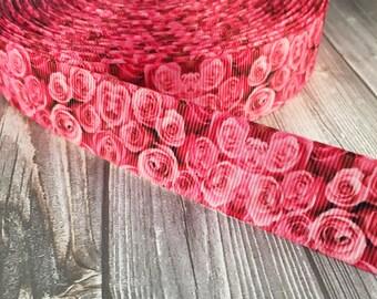 "Valentine - Pink roses - 1"" Grosgrain ribbon - Floral ribbon - 3 or 5 yards - Headband DIY - Hair bow ribbon - Flower ribbon - Crafting"