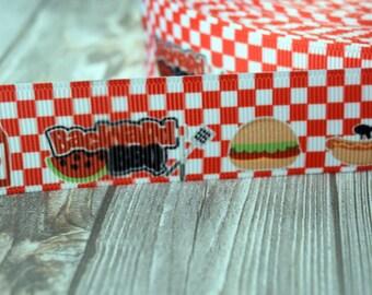 """Picnic ribbon - Summer time ribbon - 1""""  3 or 5 yard lot - Food ribbon - Fruit ribbon - Ants ribbon - Summer BBQ - Hot dogs - Hamburger"""