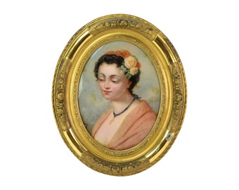 Antique Reverse Painted Glass Portrait of Beautiful Young Woman with Crucifix