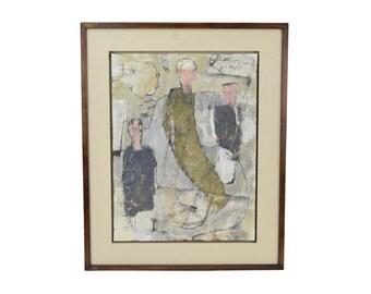 "Philip Jones ""3 of Us"" 1987 Oil Painting Abstract Figures British Artist"