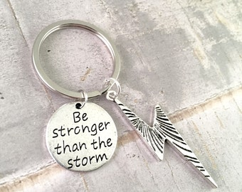 Lightning Bolt Keychain, Be Stronger than the storm keychain, inspirational, Harry Potter Fan, Superhero jewelry