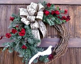 Country Christmas Wreath, Christmas Wreath, Front Door Wreath, Christmas in July, Christmas Door Wreath