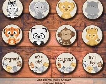 Zoo Animal Baby Shower Printable Cupcake Toppers