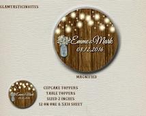 Rustic Wedding Cupcake Toppers, Rustic Wedding Stickers, Rustic Stickers, Rustic Cupcake Toppers, Rustic, Rustic invitation, wood, mason jar